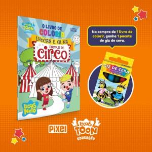 Livro de colorir Luccas e Gi no circo